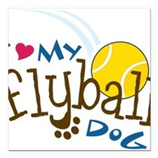 "Fly Ball Dog Square Car Magnet 3"" x 3"""