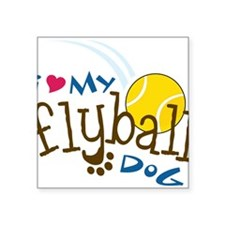 "Fly Ball Dog Square Sticker 3"" x 3"""