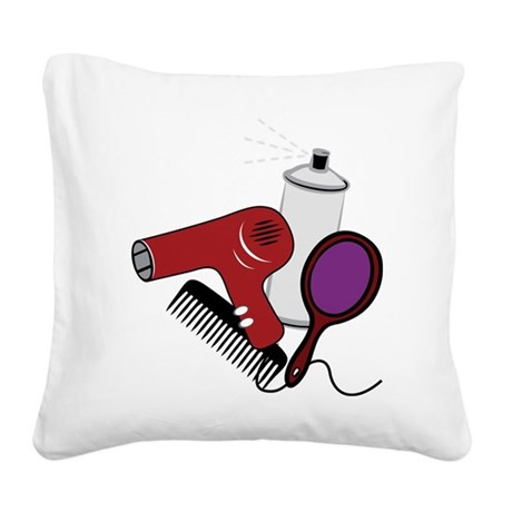 Hair Styling Supplies Square Canvas Pillow