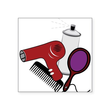 """Hair Styling Supplies Square Sticker 3"""" x 3"""""""
