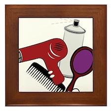 Hair Styling Supplies Framed Tile