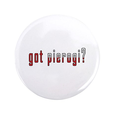 """got pierogi? Flag 3.5"""" Button (100 pack)"""