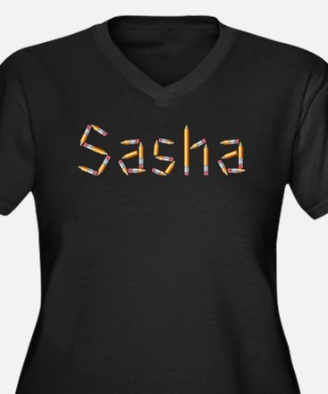 Sasha Pencils Women's Plus Size V-Neck Dark T-Shir