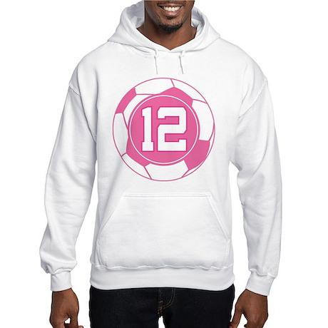 Soccer Number 12 Custom Player Hooded Sweatshirt