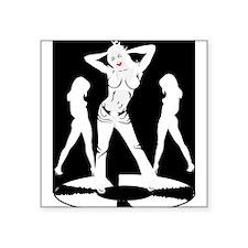 "Disco Dancing Girl Square Sticker 3"" x 3"""