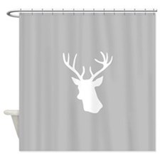 White stag deer head Shower Curtain