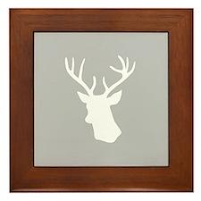 White stag deer head Framed Tile