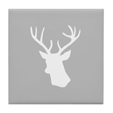 White stag deer head Tile Coaster