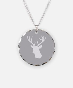 White stag deer head Necklace
