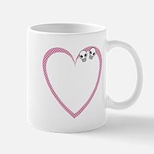 Polka Dot Skull Heart Mug