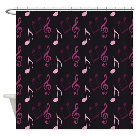 Pink Music Note Print Shower Curtain