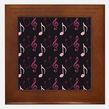 Pink Music Note Print Framed Tile