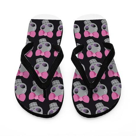 Pink Skull Print Flip Flops