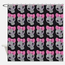 Pink Skull Print Shower Curtain