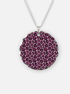 Hot Pink Leopard Print Necklace