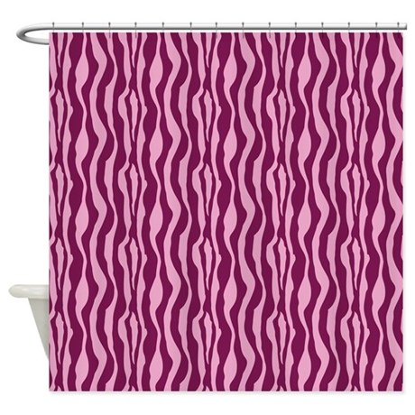 Pink zebra print shower curtain by printedlittletreasures for Zebra and red bathroom ideas
