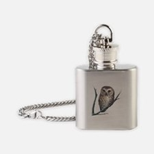 saw-whet owl light background Flask Necklace