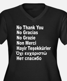 NO THANK YOU in 7 languages Women's Plus Size V-Ne