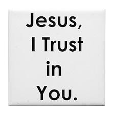 Cute Jesus loves you Tile Coaster