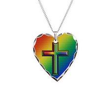 De Colores Cross Necklace Heart Charm
