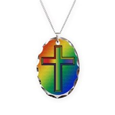 De Colores Cross Necklace Oval Charm