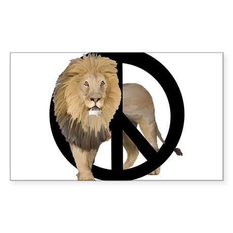 peace Lion Sticker (Rectangle)