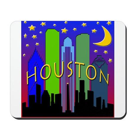 Houston Skyline nightlife Mousepad