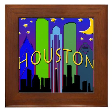 Houston Skyline nightlife Framed Tile