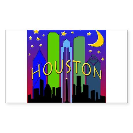 Houston Skyline nightlife Sticker (Rectangle)