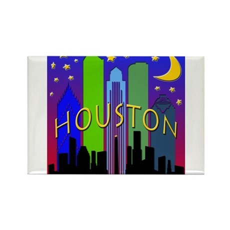 Houston Skyline nightlife Rectangle Magnet