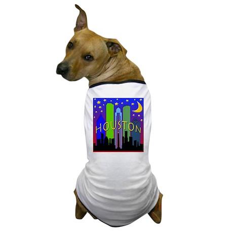Houston Skyline nightlife Dog T-Shirt