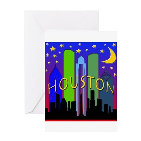 Houston Skyline nightlife Greeting Card