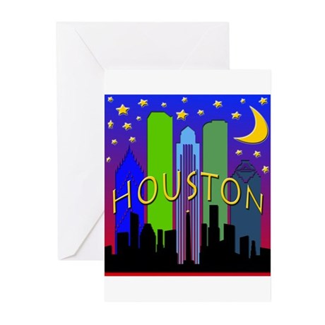 Houston Skyline nightlife Greeting Cards (Pk of 10