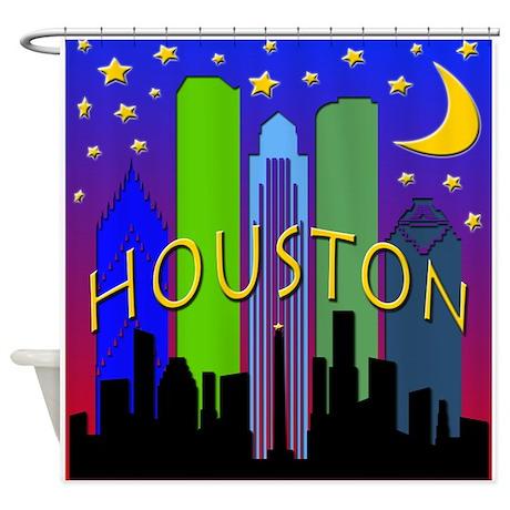 Houston Skyline nightlife Shower Curtain