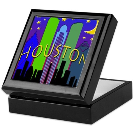 Houston Skyline nightlife Keepsake Box
