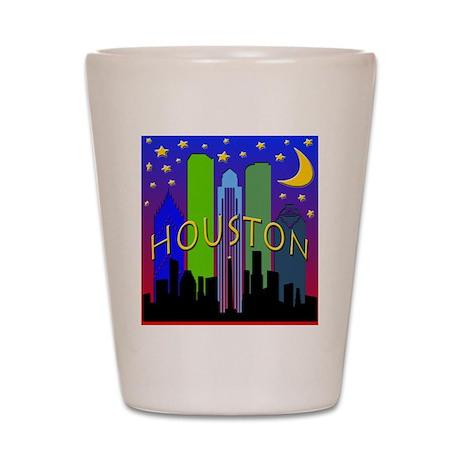 Houston Skyline nightlife Shot Glass