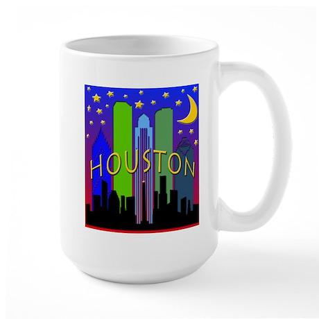 Houston Skyline nightlife Large Mug