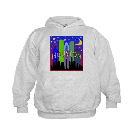 Houston Skyline nightlife Kids Hoodie