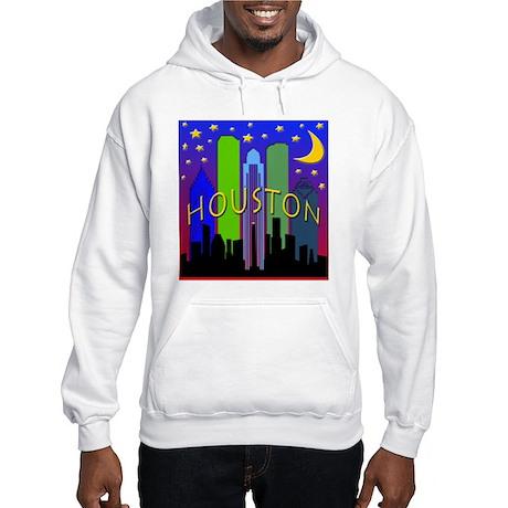 Houston Skyline nightlife Hooded Sweatshirt