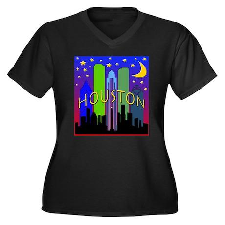 Houston Skyline nightlife Women's Plus Size V-Neck