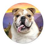 Bulldog Meadow Round Car Magnet