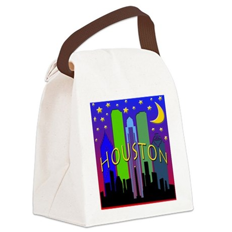 Houston Skyline nightlife Canvas Lunch Bag