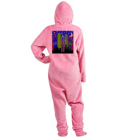 Houston Skyline nightlife Footed Pajamas