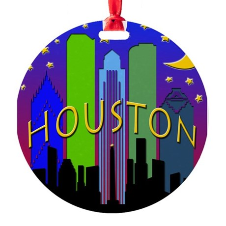 Houston Skyline nightlife Round Ornament