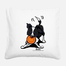 Border Collie Play Square Canvas Pillow
