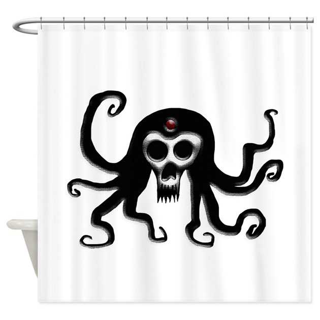 Tentacle skull shower curtain by jabraxasdesigns for Tentacle shower curtain