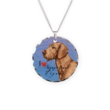 Wirehaired Vizsla Necklace Circle Charm