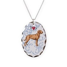Wirehaired Vizsla Necklace Oval Charm