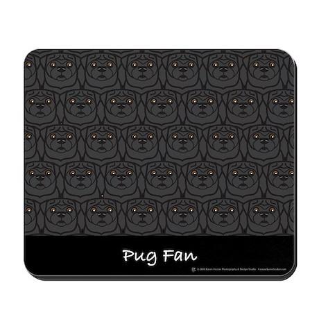 Black Pug Fan Mousepad