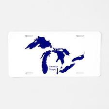 MI - Im with Stupid Aluminum License Plate
